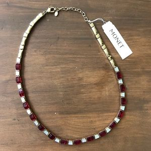 Lovely Monet red stone & mother of pearl necklace
